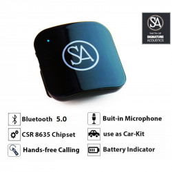 Signature Acoustics SPARROW Bluetooth 5.0 Audio Receiver with Microphone & Shirt Clip. 3.5 mm AUX Wireless Adapter