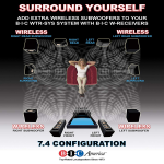 BIC America Wireless Transmitter/Receiver Kit for Subwoofers and Powered Speakers
