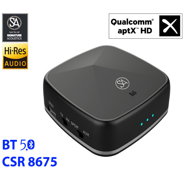 Signature Acoustics PHOENIX Hi-Fi Bluetooth 5.0 Audio Receiver & Transmitter with aptX HD, Low latency, aptX, Qualcomm CSR8675, Input and Output: 3.5mm AUX, Optical SPDIF & RCA.