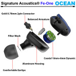 Signature Acoustics OCEAN Triple-Driver Hybrid Modular Hi-Fi Audiophile Earphone 2 coaxial Dynamic Drivers + 1 Balanced Armature with Mic(Convertible to BT5.0)