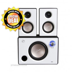 Swans M10 Powered 2.1 Multimedia Surround Sound Near-Field Speakers System (White)