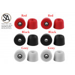 Signature Acoustics Du-Son T400 Premium Replacement Memory Foam Ear-bud Tips with superior noise isolation comply with 4.9mm earphone nozzle|6 pairs with custom storage case| Medium| Red, Black & Grey