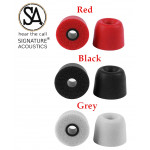 Signature Acoustics™ Du-Son T100 Premium Replacement Memory Foam Ear-bud Tips with superior noise isolation comply with 3.0mm earphone nozzle|6 pairs with custom storage case| Medium| Red, Black & Grey