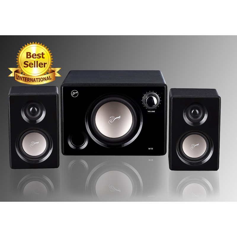 112af99bc5a Swans M10 Powered 2.1 Computer multimedia Surround Sound Near-Field Speakers  System (Black)