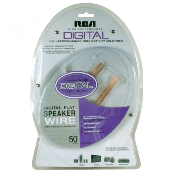 RCA Flat Speaker Cable High Performance Digital 50 ft / 15.2 m