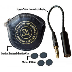 Signature Acoustics Accessories with Black Leather Pouch, TRRS Cable and Eraphone Filter