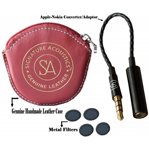 Signature Acoustics Accessories with Red Leather Pouch, TRRS Cable and Eraphone Filter